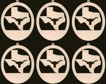 6 Texas LONGHORN Ornaments 4 inches tall Unfinished Craft Wood Shapes 1365-4ND