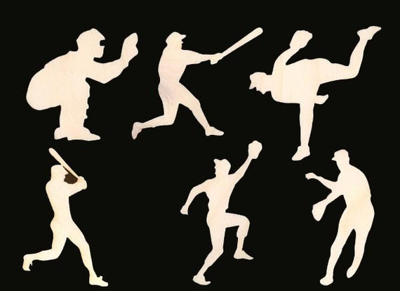 6 Piece Baseball Figure Set Unfinished Wood Craft Supplies 940-F