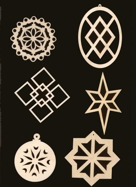 6 Piece SNOWFLAKE Christmas Ornaments Natural Craft Wood Cutouts 921-6pc