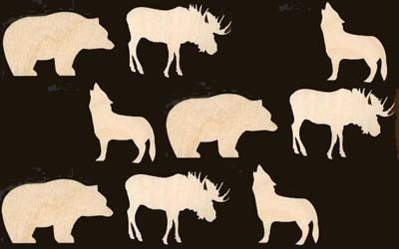 Moose Bear Wolf Wild Animals 9 Pieces Natural Craft Wood