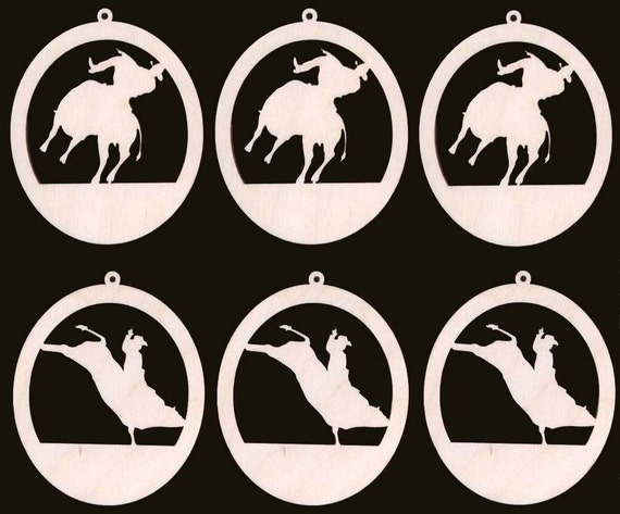 6 Piece Bull Rider Ornament Assortment Natural Craft Wood Cutout 905-4ND