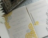 Digital Paisley Pocketfold Invitation Templates (colors of choice)-5 templates