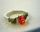 MADE TO ORDER Orange Swarovski Crystal Wire Wrapped Ring