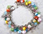 Easter Dotted Beaded Charm Bracelet