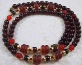 Stunning Vintage Garnet and Siam Ruby Art Deco Necklace