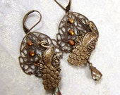 Victorian Gardens, Peacocks and Saphiret Earrings