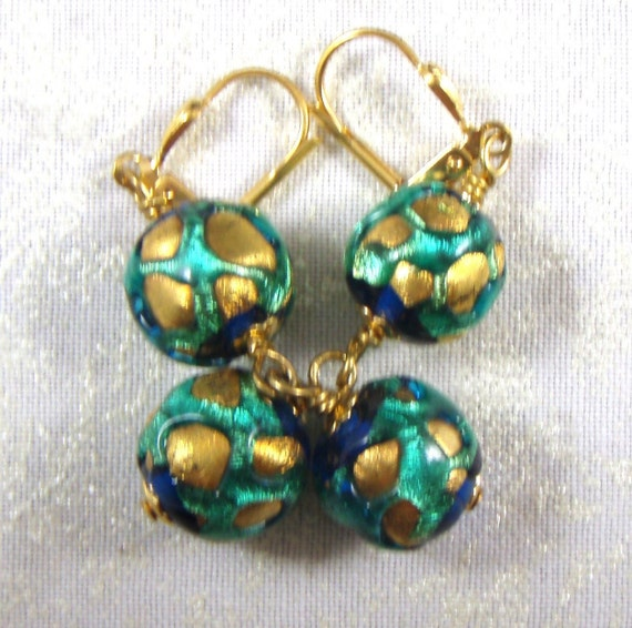 Many Worlds Earrings with Foiled Venetian Art Glass Beads