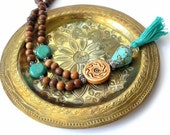 Wooden Mala Necklace, Turquoise Magnesite, Carved Bone