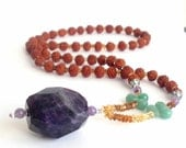 Drew Barrymore Mala Necklace of Faceted Amethyst, Citrine, Green Aventurine and Rudraksha - Gifted to Drew Barrymore