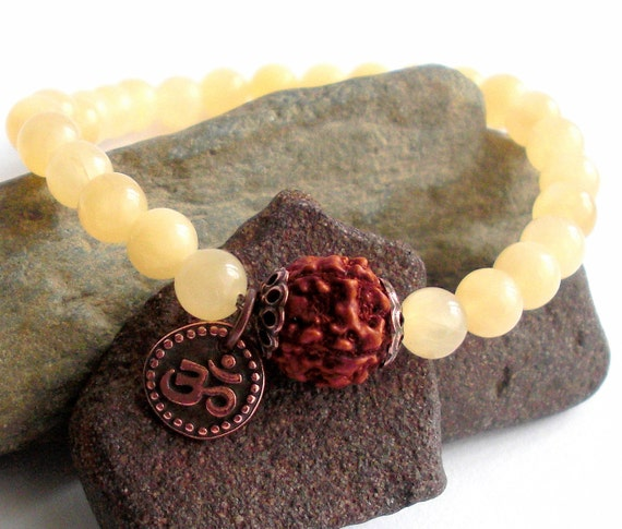 School Of Yoga Mala Bracelet - Design Inspired by Yogini Christina Sell - Yellow Calcite, Rudraksha and Om
