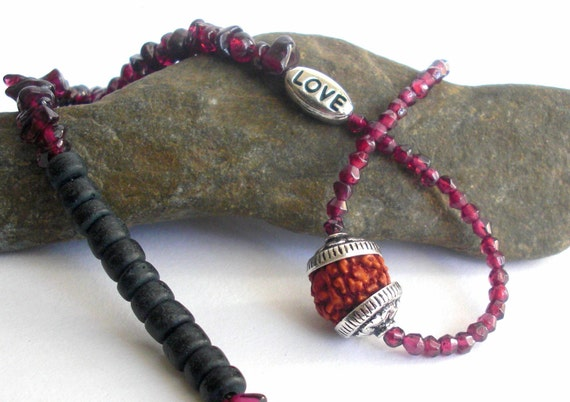 Love Necklace with Garnet and Rudraksha - Love, Compassion