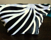 Chic Black, White, and Teal Pouch