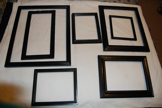 Set of 7 Wood Picture Frames Painted in Black