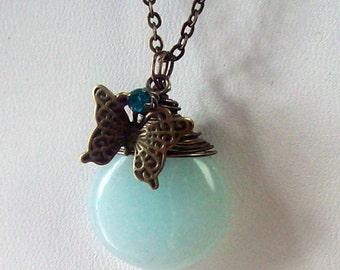 Blue Skies and Butterflies - Soft Blue Jade Briolette Pendant