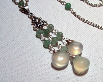 Morning Dew - Celery Chalcedony Triple Dangle Pendant in Silver with Light Green Adventurine