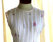 VINTAGE Sleeveless A-Line Dress with Petite Rose and Polka Dot Print -- Prom Graduation Wedding  -- On Sale -- FREE Shipping to USA