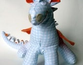 Phineas - A Baby Friendly Dragon Beastie Toy Stuffed Animal in Blue, White, and Orange