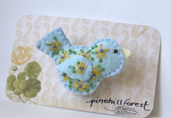 Handmade Felt Little Blue Bird Brooch or Pin