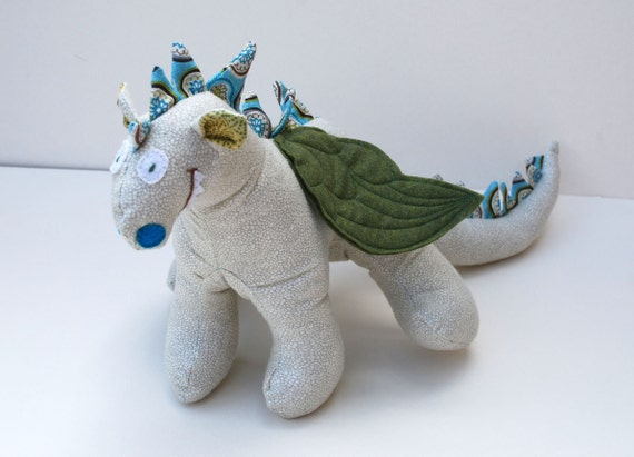 Simon - A Baby Friendly Dragon or Beastie Stuffed Animal Toy in Gray and Cream