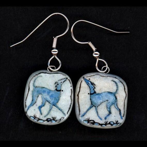 Snooty Blue Greyhound Earrings