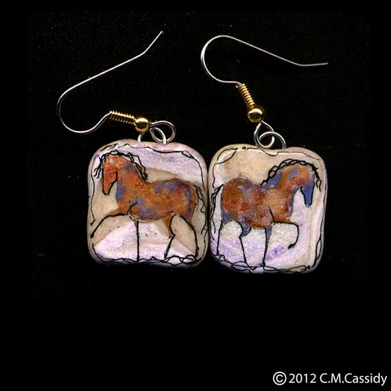 Prancing Copper Ponies Earrings