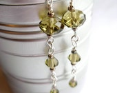 Olive Green Crystal Long Drop Earrings . Sterling Silver Green Crystal Dangle Earrings
