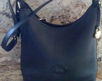 Authentic Vintage Dooney & Bourke Hobo Handbag Black Leather/ All Weather Pebbled Vintage Leather