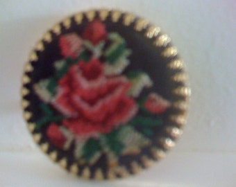 Beautiful Vintage Floral Red Rose Embroidered Peti Point Floral Brooch