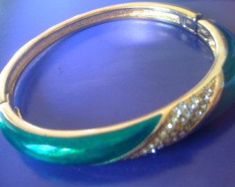 Vintage Signed CHRiSTIAN DIOR Green Enameled Gold Hinged Bangle Bracelet with Pave Set White Rhinestones