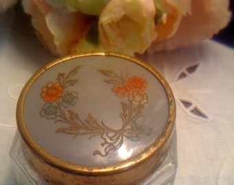 Art Deco Hand painted Celluloid Pressed Glass Vanity Jar