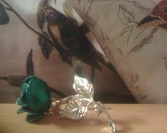 2Days Sale Vintage Petit Enamel Rosebud Pin/ Brooch