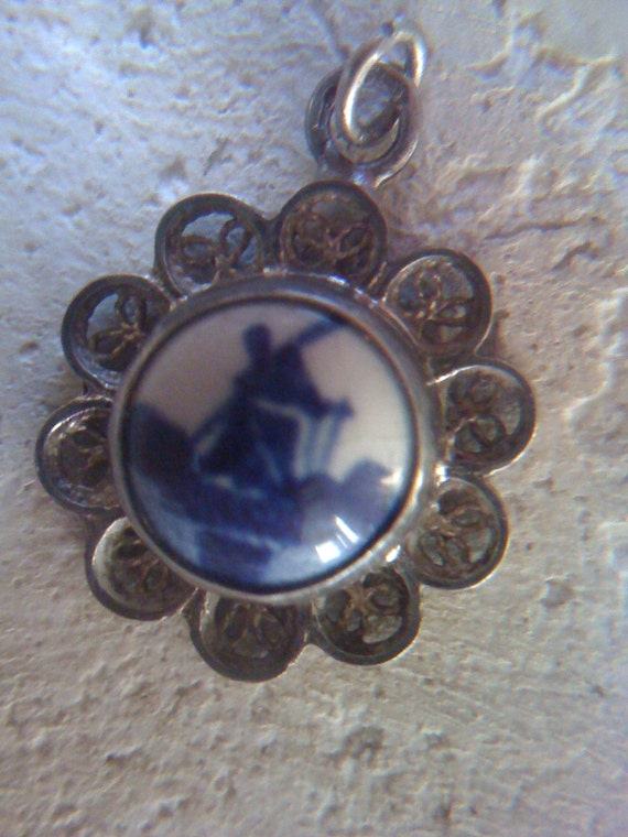 "Sale Vintage 1950s Sterling Silver Delft Hand Painted Porcelain Pendent Dutch Windmill Signed ""DELFT"""