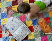 Free US Shipping--Classic Americana Patchwork Quilt small lap size 49 X 58 all cotton