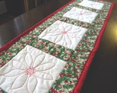 Christmas Table Runner with redwork quilting