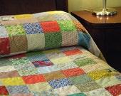 pillow shams, 2 shams, cotton bedding, queen/king, 22X40, patchwork, vintage, retro
