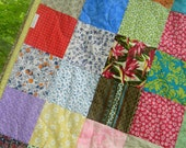 Free US Shipping--Patchwork Quilt--LAP SIZE--54X81--Funky Random fabrics--all cotton