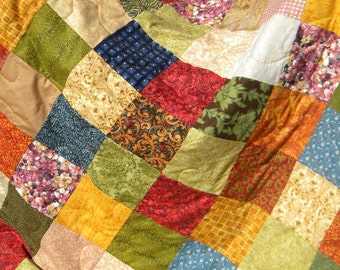 Patchwork quilt--KING size--Warm Earthtone, autumn colors 90 X 106