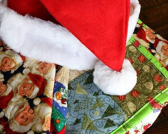 Waiting for Santa lap quilt, 54X81, all cotton blanket, holiday season, CIJ, Free US Shipping