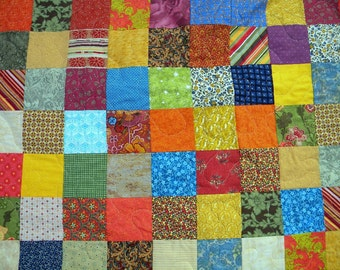quilts, Patchwork quilt--lap size--Warm Earthtone --54 X 81, cotton bedding, dorms,  Quiltsy Handmade