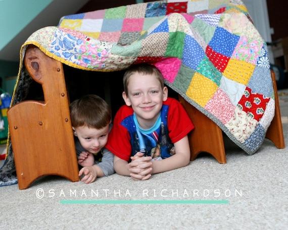 Patchwork Quilt, TWIN size, 62X93, cotton blanket