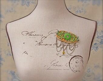 Statement Button Brooch Vintage Rhinestone Pearls Lace Victorian Wedding Gold Peridot Green Citrine Yellow OOAK Victorian Wedding