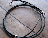 Men's 3 Cord Black Leather Necklace  18 inch Free Shipping USA