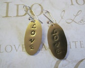 Handcrafted Love Stamped Brass Oval Earrings