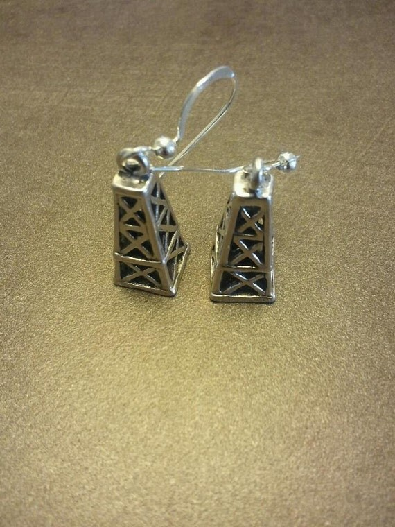 Oil Derrick Earrings Sterling Silver Free Shipping USA
