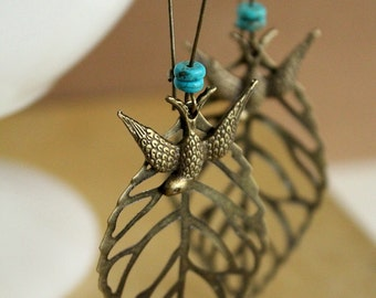 Antique Brass Leaf and Swallow bird Earrings - genuine Turquoise, boho, hippie, free spirited