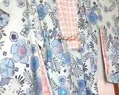 Japanese Pure Silk Haori Kimono Jacket - Blue flowers