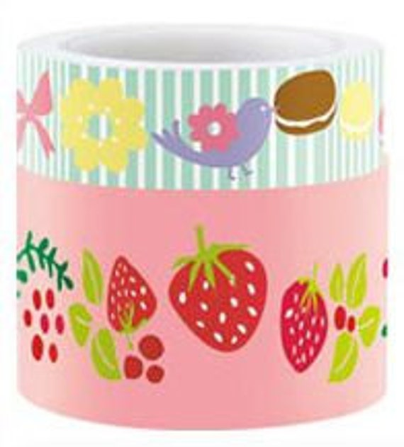 Cute Masking Tapes - Strawberries and Blue Striped Funtape Set of 2 Wide and Normal Masking Tapes - 30mm / 15mm x15m