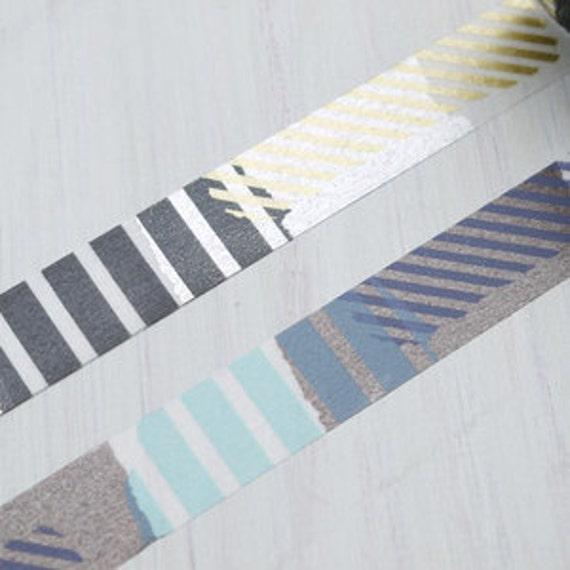 Shiny Striped Washi Masking Tape - 15mm x15m ( MT Tsugihagi Collage stripes washi tape 2 roll set )