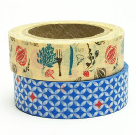 Decollections Blue and Nature Washi Masking Tape Set of 2  - 15mm x 10m ( Lucy )