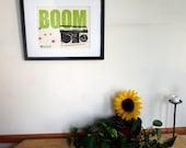 SALE - Letterpress Poster Print - BOOM box - 8x10